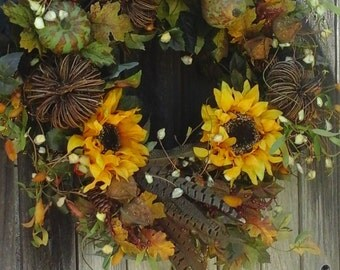 Thanksgiving Wreath | Sunflower Wreath| Fall Door Wreath|Autumn Wreaths |  Pheasant Feathers|Twig Pumpkins|Door Hangers|Winter Wreaths