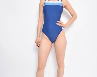 Vintage 90's Adidas One Piece Blue Swimsuit - Size Medium