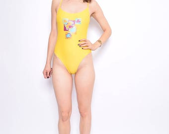 Vintage 90's Fish Print Lemon Yellow One Piece Swimsuit - Size Medium