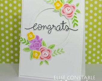 Floral Congrats Card / Handmade Floral Congratulations Card / Floral Wedding Card / Scripty Congrats Card