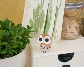 Animal Totem - Garden Guardian - Ceramic Hand Sculpted Critter - Made in Oregon - Northern Spotted Owl