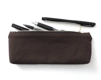 Canvas Pencil Case Zipper Pencil Pouch Brown