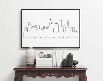 Custom City Skyline & Coordinates Poster, Unframed, Housewarming Gift, Gift for Him, Gift for Brother, Apartment Decor, Large Wall Decor