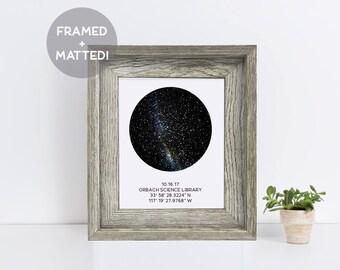 Custom Framed Night Sky Map, Distressed Grey Wood Frame, Engagement Gift, Baby Gift, Wedding Gift, Night Sky Print, Constellation Art