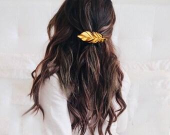 Boho Feather hair clips Bridesmaid Best friend Valentine Wedding gift Rustic wedding Laser Wood feather