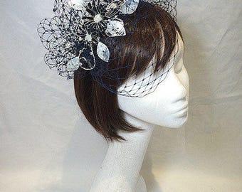 Navy fascinator, Blue fascinator, Mother of the bride, Unique hat