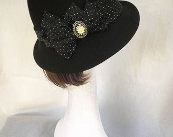 Black trilby hat, black hat, Vintage hat, Victorian accessory, 1940s trilby, black hat