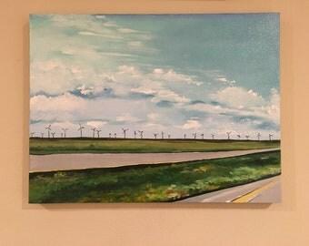 Original art - acrylic on canvas - West Texas Windmills Landscape painting