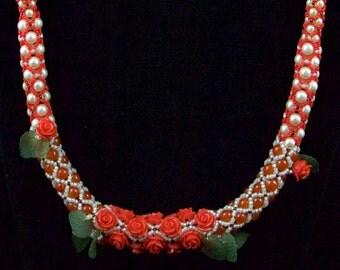 Rose and Carnelian Tubular Netting Necklace