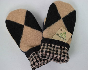 Large Brown and Black Recycled Wool Sweater Mittens Argyle Mittens