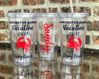 Crab Beach Vacation / Bachelorette Party Tumbler 16 ounce