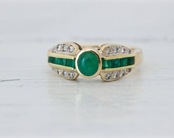 Emerald Engagement Ring | Emerald Diamond Ring | Vintage Engagement Ring | May Birthstone Ring | 18k Yellow Gold Jewelry | Size 6.5