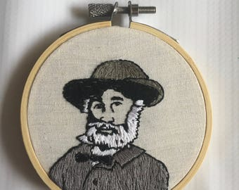Walt Whitman Hand Embroidery Hoop Art 3""