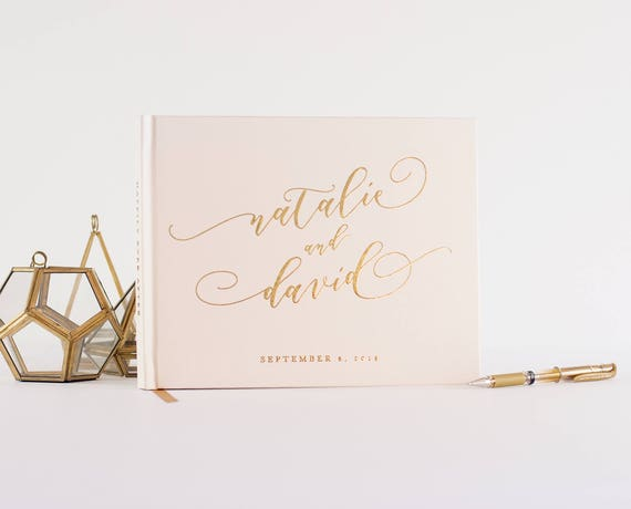 Wedding Guest Book landscape horizontal wedding book with Real Gold Foil wedding guestbook instant photo book personalized names hardcover
