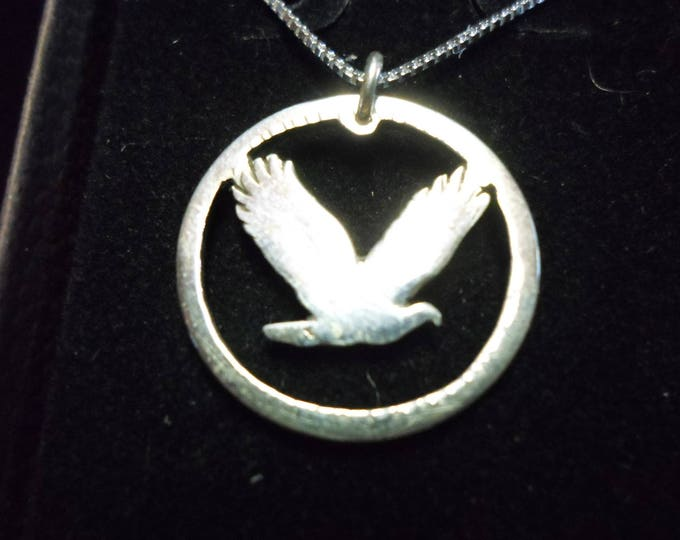 Flying eagle quarter w/sterling silver chain