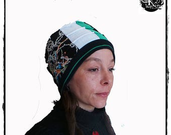 Very warm hat or toque in black velvet, wool beige green jersey and fleece lined green pattern