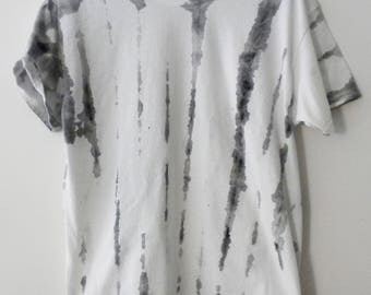 Graphic T-shirt, Tie dye T-shirt, Black and white Tee, retro, hand painted , dip dye, hipster, stripes , white, Gift under 15 dollars