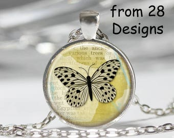 Butterfly Necklace, Art Print Pendant Jewelry, Charm Jewelry or Keyring fob, Dragonfly Necklace, Butterfly Key fob, Bird on Wire Necklace