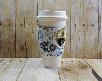Fabric Coffee Cozy / Fish Coffee Cozy / Aquatic Coffee Cozy /  Coffee Cozy / Tea Cozy