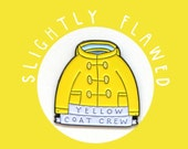 Seconds Enamel Pin Yellow Coat Crew. Colourful lapel pin badge for yellow coat lovers! Bright, sunshine, happy, cute, Summer, Golden yellow