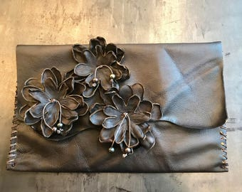 Black Flower and Culture Black Pearls Hand stitched Bohemian Leather Clutch Handbag