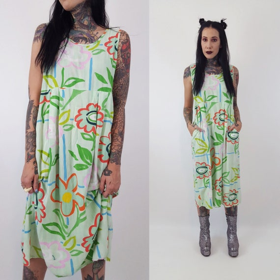 80's All Over Print Pastel Floral Midi Sundress Small - Seafood Green Painterly Sun Dress Babydoll Sleeveless Dress - VTG Dress With Pockets