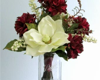 """Burgundy Red or Rose Pink and Ivory Silk Flower Centerpiece Bouquet, Magnolia, Dahlias, Spray Roses, Hydrangea, Berries, """"Glory"""""""
