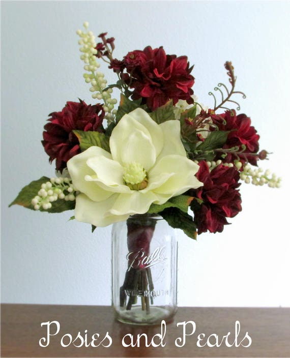 Burgundy red or rose pink and ivory silk flower centerpiece