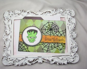 Halloween Cards, Frankenstein Monster Happy Birthday Greeting Card, Handmade Stationery, Autumn Wishes, Thinking Of You, Happy Halloween