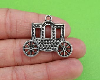 4 Medieval Carriage Car Silver Pendants (CH330)