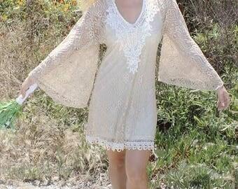 SALE Boho  goddess Festival Country Bohemian Crochet Hippie Tunic Coverup wedding honeymoon Dress Tunic Top *One Size* *Plus Size*