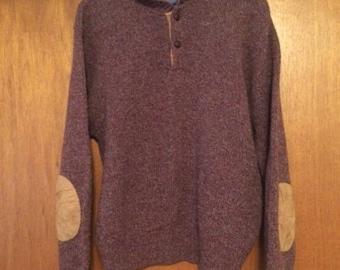 Vintage Pendleton Maroon Tweed Sweater Elbow Patches L 100% Wool
