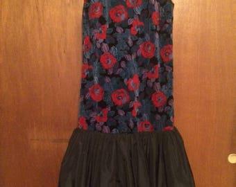 Vintage Women's Jane Schaffhausen Belle France Floral Velvet Black Flounce Dress 12