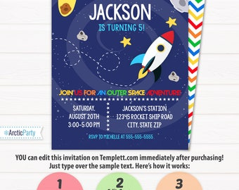 Pool party invitation swimming pool birthday party pool for Space themed stationery