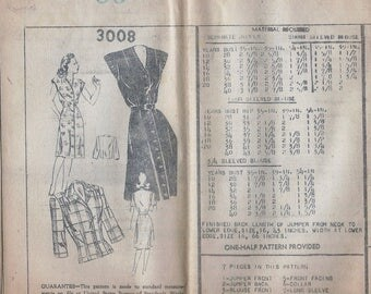 1940s Mail Order 3008 Women's Jumper and Blouse Sewing Pattern