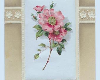Pink Roses on Silk Birthday Postcard, c. 1910