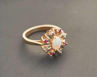 """Yellow 14K Gold African Fire Opal """"Flower"""" Diamond and Ruby Ring - 0.3 Carat Opal"""