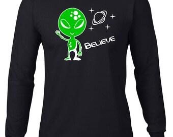 Long Sleeve Shirt, Funny Tshirt, Cute Alien T Shirt, Ringspun Cotton, Funny Tee, I Believe Alien Tshirt, Mens Plus Size