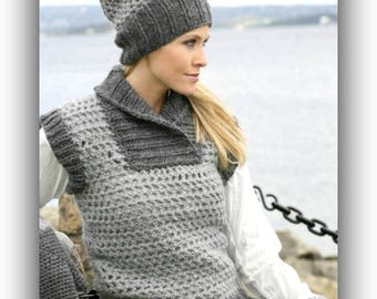 Women's Grey Wool Hat Vest Mitten Set Non Itchy Wool Hat Plus Size Women's Crochet Smokey Grey Hat Mitten Gift for Her Fall Vest Winter Hat