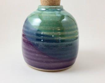 Pottery Pump Dispenser, Pottery Soap Dispenser, Pottery Dispenser, Hand Made Pottery Dispenser, Teal/Purple Pump Dispenser, Soap Dispenser