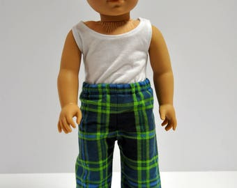 Navy Blue and Green Plaid Flannel Pajama PJ Lounge Pants Made to fit American Boy Doll Clothes 18 Inch Doll Clothes