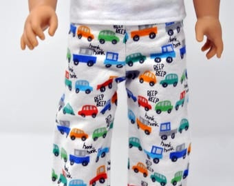Cars and Trucks Flannel Pajama PJ Lounge Pants Made to fit American Boy Doll Clothes 18 Inch Doll Clothes