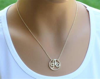 Sterling silver unique Initial necklace, Personalized Initial necklace, Statement Necklace, Letter Necklace, Monogram Necklace ,A Necklace.
