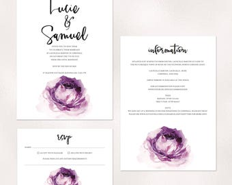 Bloom - soft purple tone wedding invitations with watercolor rose and matching accessories