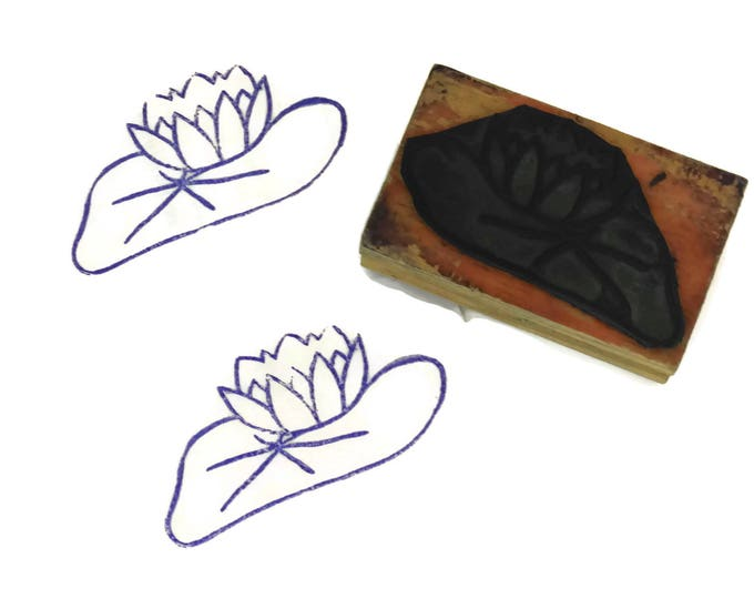 Vintage French Water Lily Rubber Stamp. Letterpress Printing Block. Flower Art Print Stamp. Floral Scrapbook Supply.
