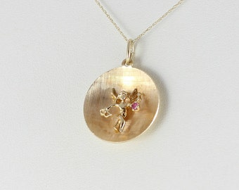 14k Yellow Gold Angel with Ruby Etched Disk Charm or Pendant