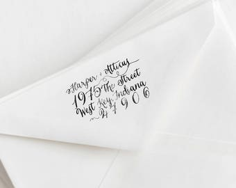 "Hand Drawn Calligraphy Return Address Stamp - Custom Save the Date Stamp - 2.5"" x 1.5"""