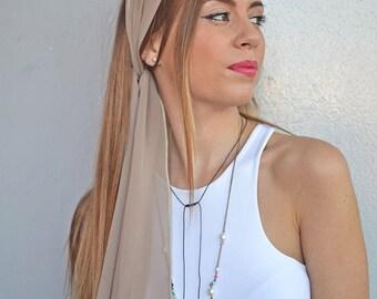 Tan Headband, Tan Hair Scarf, Womens Head Scarfs, Hair Covering, Long Hair Accessory, Tie Back Headscarf, Retro Head Scarf, Head Scarf