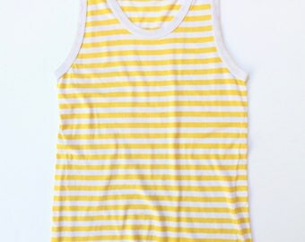 MARIMEKKO!!! Vintage 1970s 'Marimekko' yellow and white striped jersey singlet top with ribbed banding