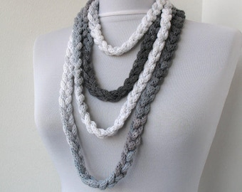 Knitted jewelry, Knit Scarflette Necklace,Braided Necklace,in white and gray tones E238